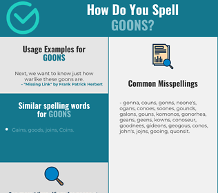 Correct spelling for GOONS