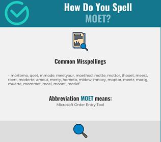 Correct spelling for MOET