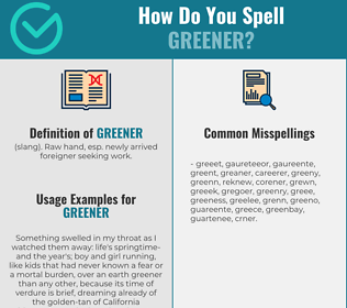 Correct spelling for greener