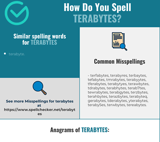 Correct spelling for terabytes