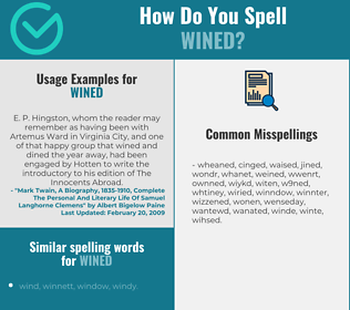 Correct spelling for wined