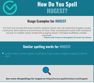 Correct spelling for hugest