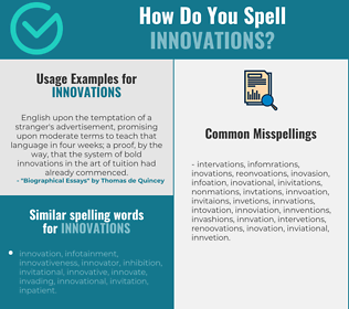 Correct spelling for innovations