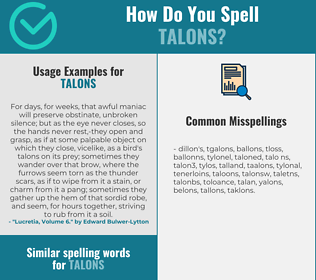 Correct spelling for talons