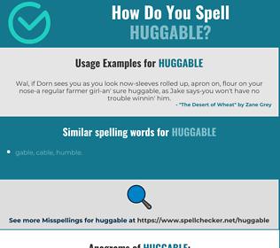 Correct spelling for huggable