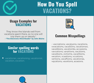 Correct spelling for vacations