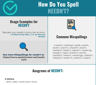 Correct spelling for needn't