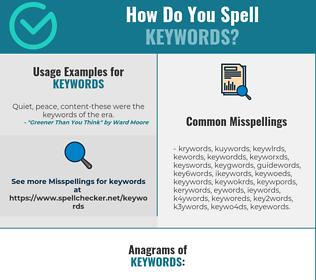 Correct spelling for keywords