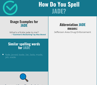 Correct spelling for jade