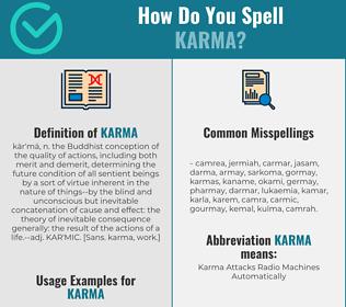 Correct spelling for karma