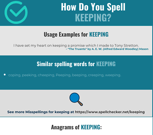 Correct spelling for keeping