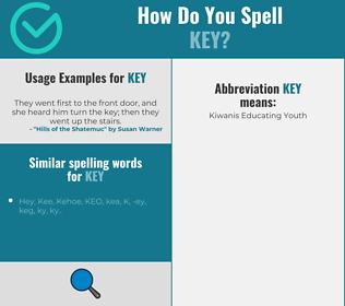 Correct spelling for key