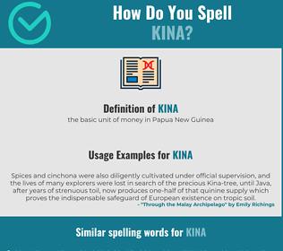 Correct spelling for kina