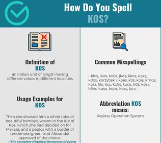 Correct spelling for kos