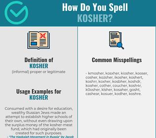 Correct spelling for kosher