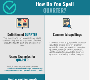 Correct spelling for quarter