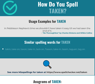 Correct spelling for taken