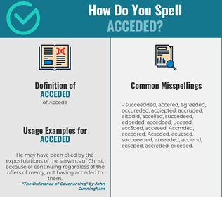 Correct spelling for Acceded