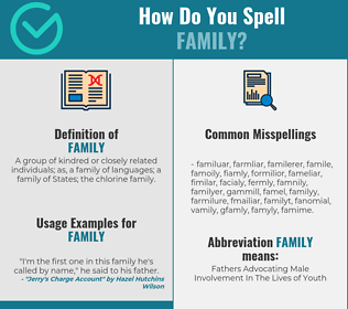 Correct spelling for Family