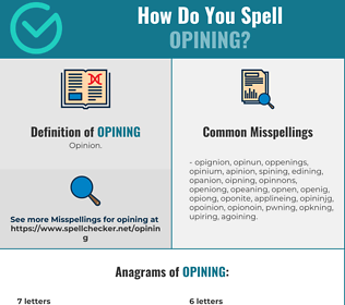 Correct spelling for Opining