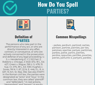 Correct spelling for Parties