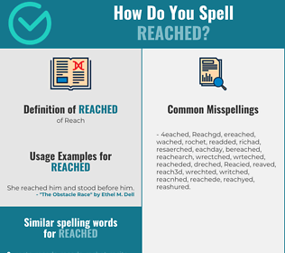 Correct spelling for Reached