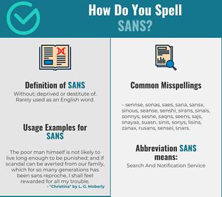 Correct spelling for Sans