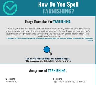 Correct spelling for Tarnishing
