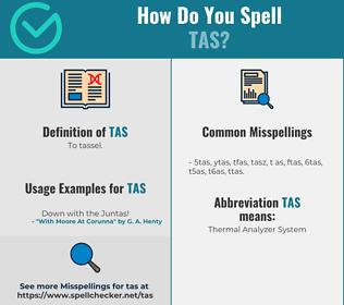 Correct spelling for Tas