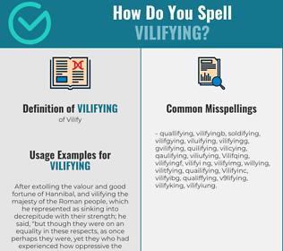 Correct spelling for Vilifying