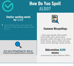 Correct spelling for Aldo