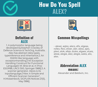 Correct spelling for Alex