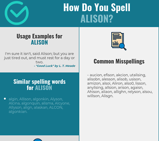 Correct spelling for Alison