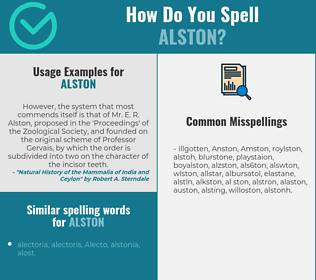 Correct spelling for Alston