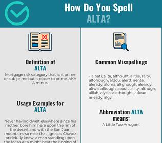 Correct spelling for Alta