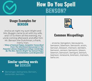 Correct spelling for Benson