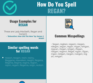 Correct spelling for Regan