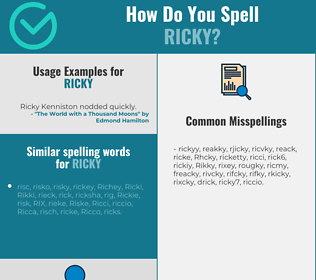 Correct spelling for Ricky