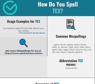 Correct spelling for Tex