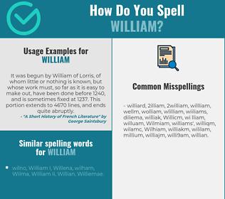 Correct spelling for William
