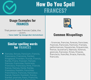 Correct spelling for Frances