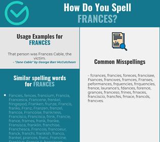 Correct spelling for Frances
