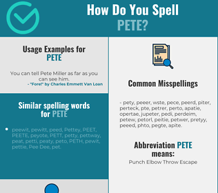 Correct spelling for Pete