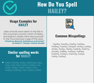 Correct spelling for Hailey