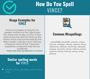 Correct spelling for Vince