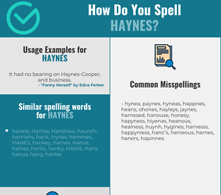 Correct spelling for Haynes