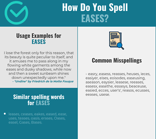 Correct spelling for eases