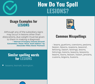 Correct spelling for lesions