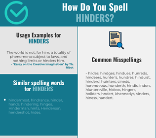 Correct spelling for hinders