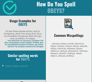 Correct spelling for obeys